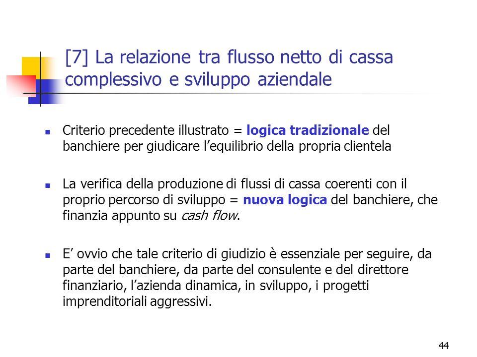 [7] La relazione tra flusso netto di cassa complessivo e sviluppo aziendale